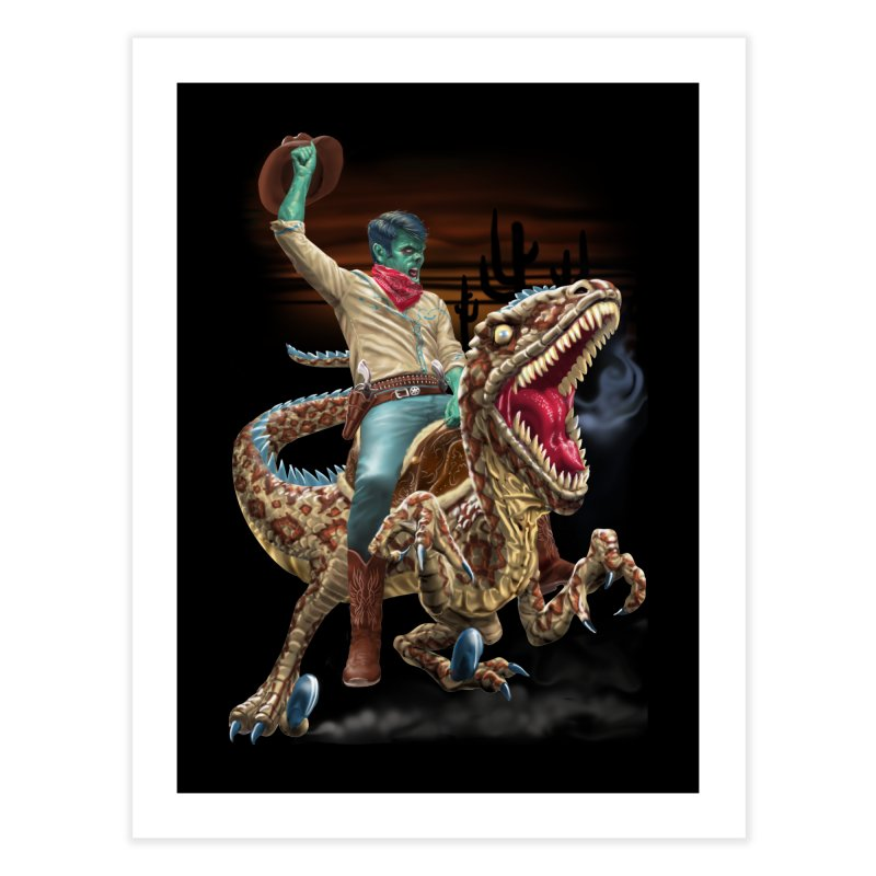 Zombie Rodeo Raptor Home Fine Art Print by Ayota Illustration Shop