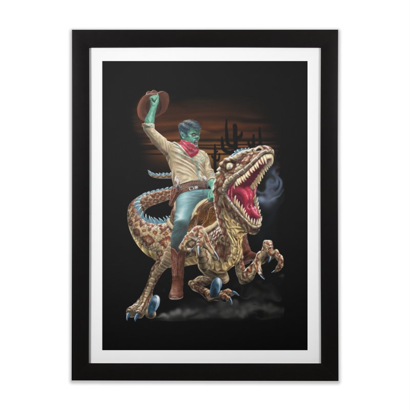 Zombie Rodeo Raptor Home Framed Fine Art Print by Ayota Illustration Shop