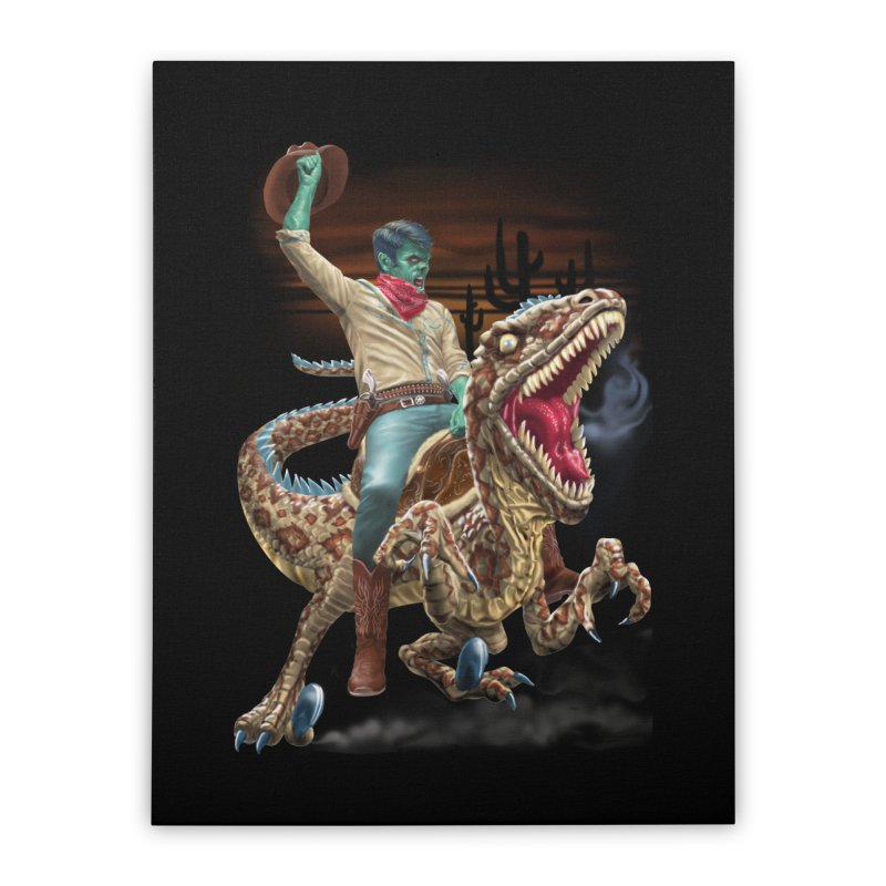 Zombie Rodeo Raptor Home Stretched Canvas by Ayota Illustration Shop