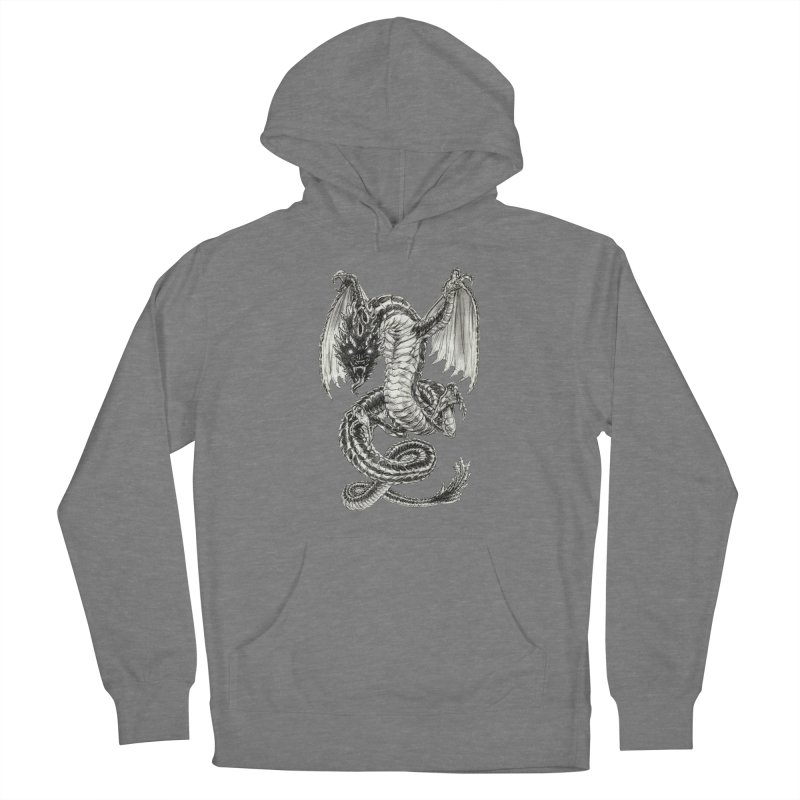 Black Dragon Men's French Terry Pullover Hoody by Ayota Illustration Shop