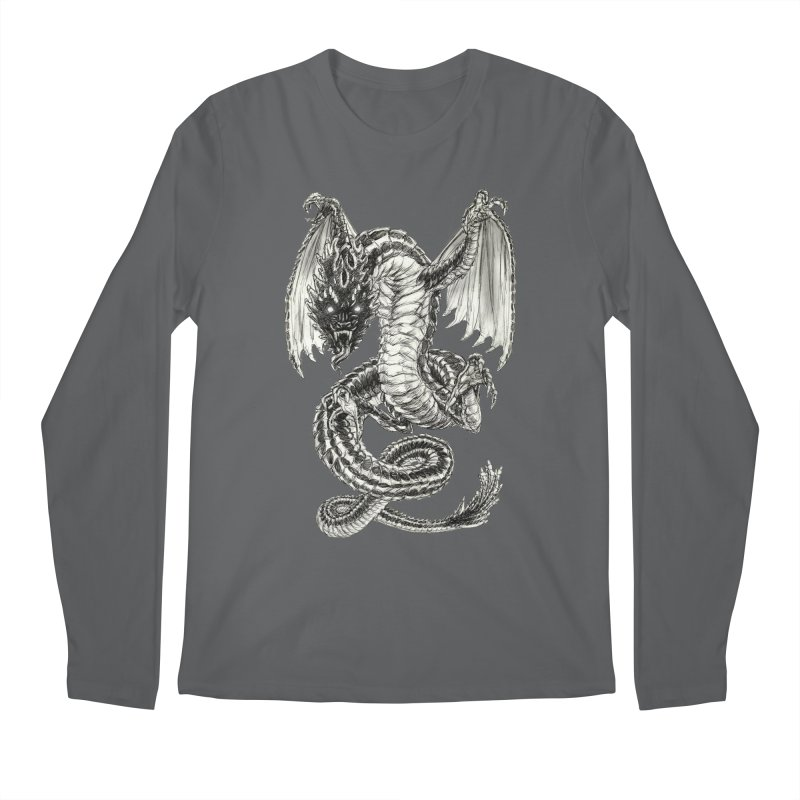 Black Dragon Men's Regular Longsleeve T-Shirt by Ayota Illustration Shop