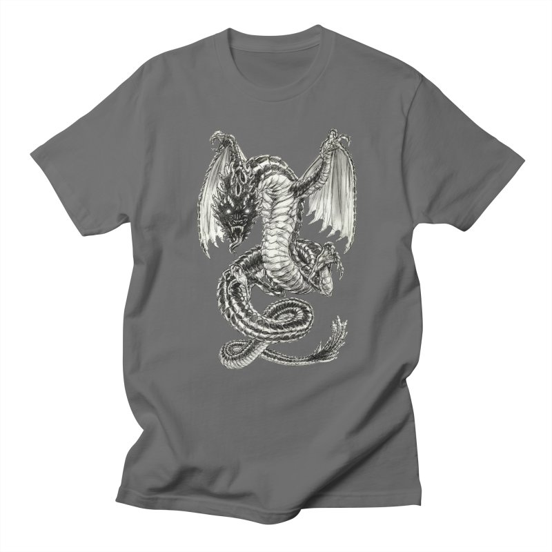 Black Dragon Men's Regular T-Shirt by Ayota Illustration Shop