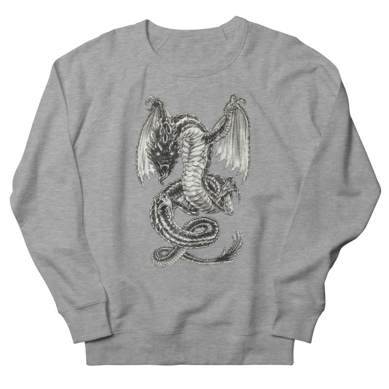 Black Dragon Men's French Terry Sweatshirt by Ayota Illustration Shop