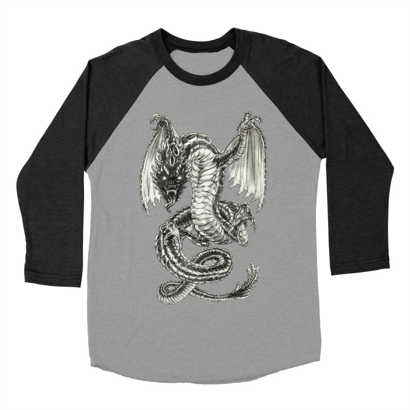 Black Dragon Men's Baseball Triblend Longsleeve T-Shirt by Ayota Illustration Shop