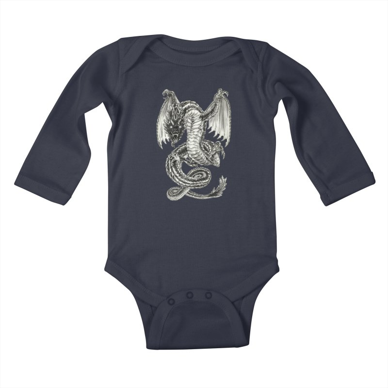 Black Dragon Kids Baby Longsleeve Bodysuit by Ayota Illustration Shop
