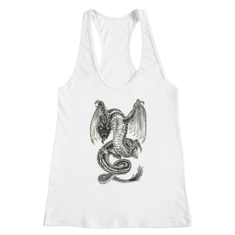 Black Dragon Women's Racerback Tank by Ayota Illustration Shop