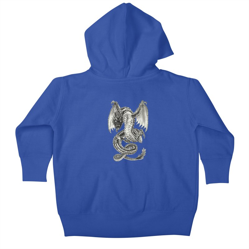Black Dragon Kids Baby Zip-Up Hoody by Ayota Illustration Shop