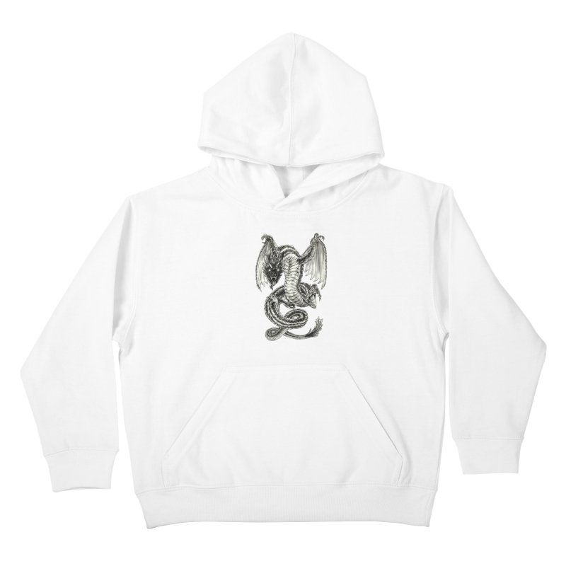 Black Dragon Kids Pullover Hoody by Ayota Illustration Shop