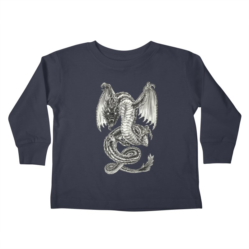 Black Dragon Kids Toddler Longsleeve T-Shirt by Ayota Illustration Shop