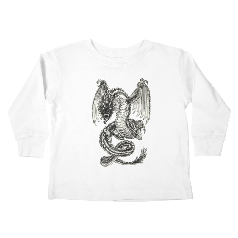 Black Dragon Kids Toddler Longsleeve T-Shirt by Ayota Illustration Shop