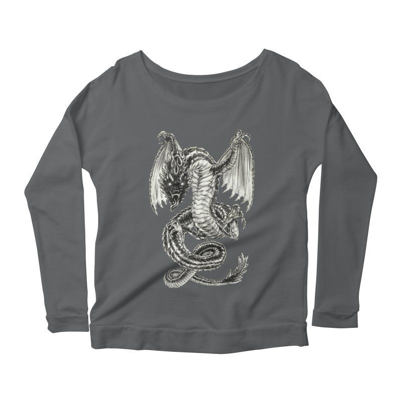 Black Dragon Women's Longsleeve T-Shirt by Ayota Illustration Shop