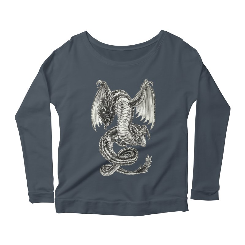 Black Dragon Women's Scoop Neck Longsleeve T-Shirt by Ayota Illustration Shop
