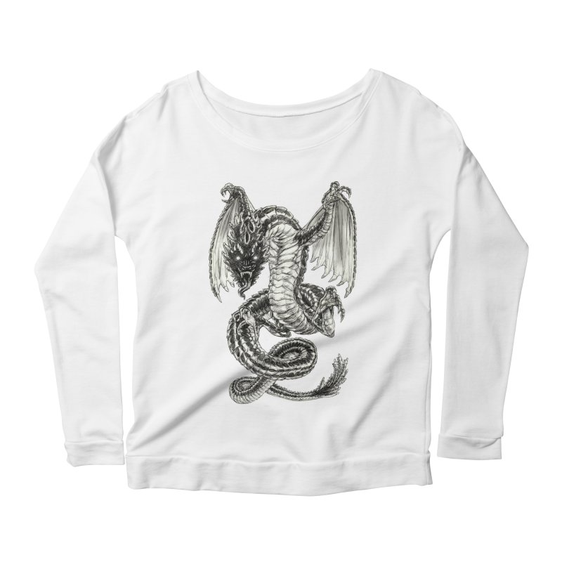Black Dragon Women's Scoop Neck Longsleeve T-Shirt by Ayota Illustration Shop