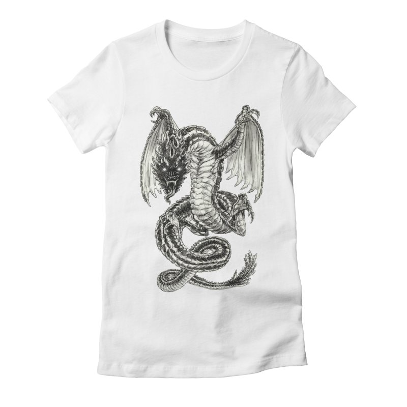 Black Dragon Women's Fitted T-Shirt by Ayota Illustration Shop