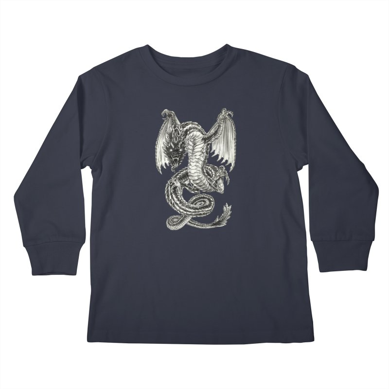 Black Dragon Kids Longsleeve T-Shirt by Ayota Illustration Shop