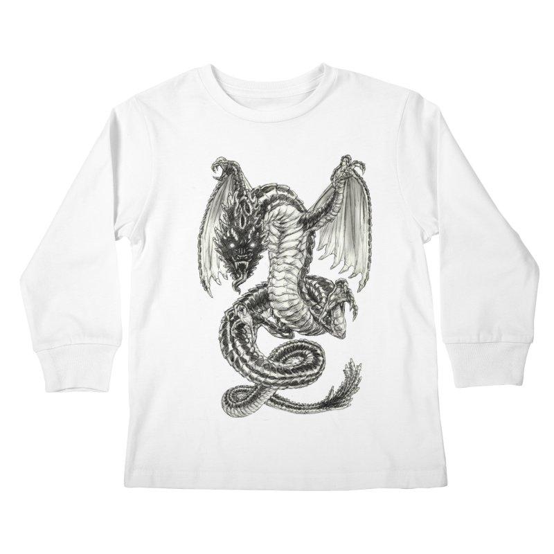 Black Dragon Kids Longsleeve T-Shirt by Ayota Illustration Shop