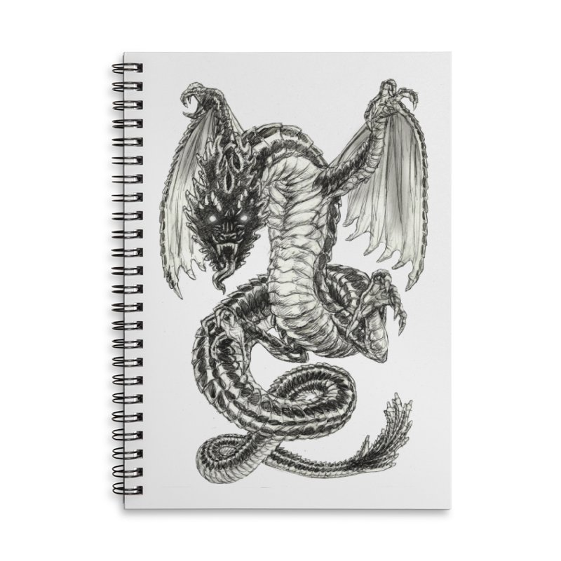 Black Dragon Accessories Lined Spiral Notebook by Ayota Illustration Shop