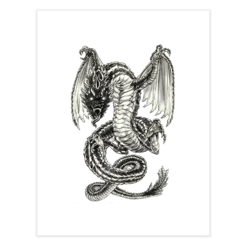 Black Dragon Home Fine Art Print by Ayota Illustration Shop