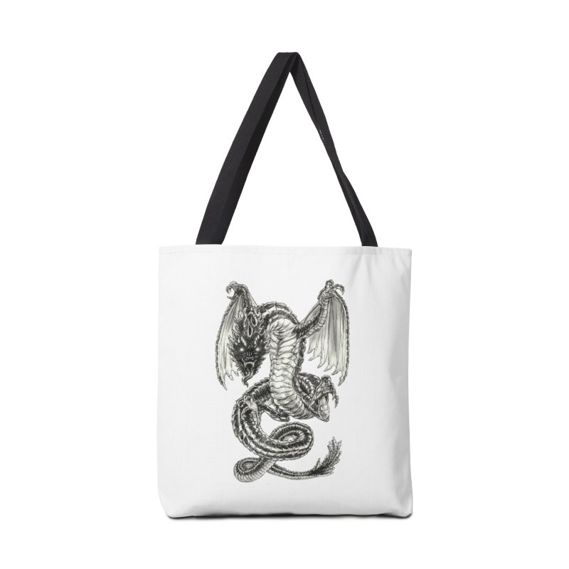 Black Dragon Accessories Tote Bag Bag by Ayota Illustration Shop