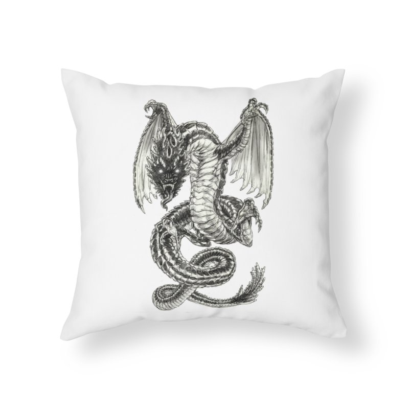 Black Dragon Home Throw Pillow by Ayota Illustration Shop