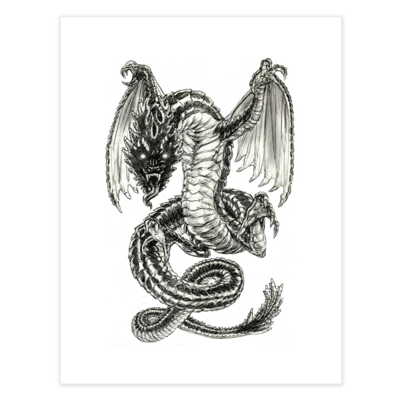 Black Dragon Home Fine Art Print by Ayota Illustration Shop