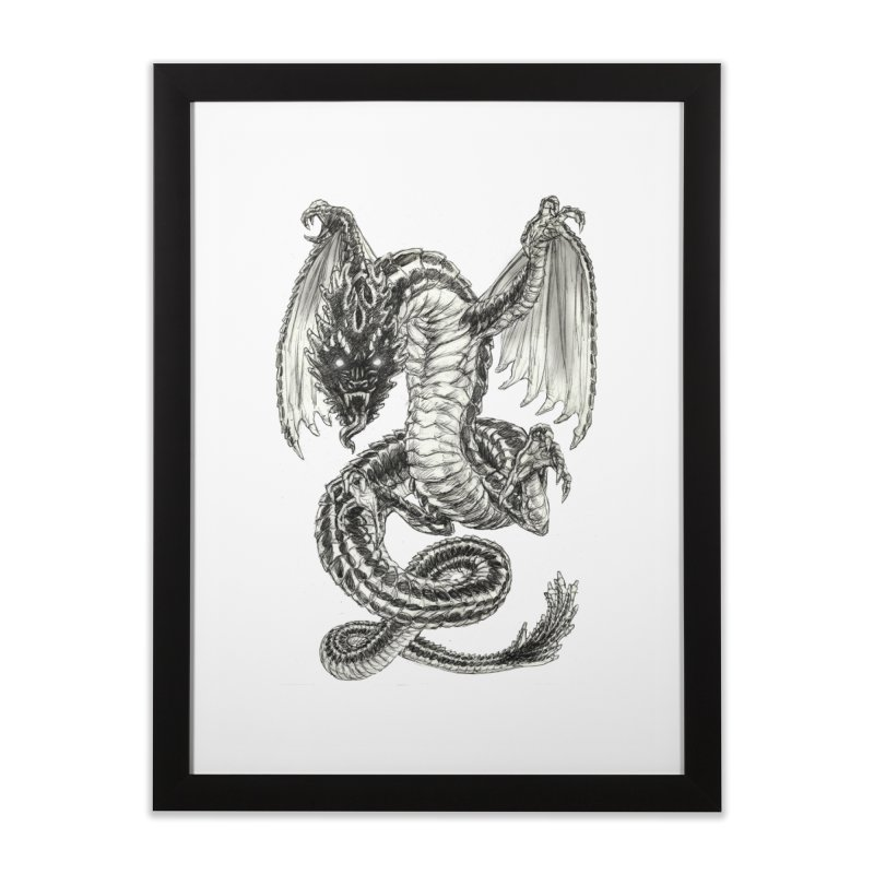 Black Dragon Home Framed Fine Art Print by Ayota Illustration Shop