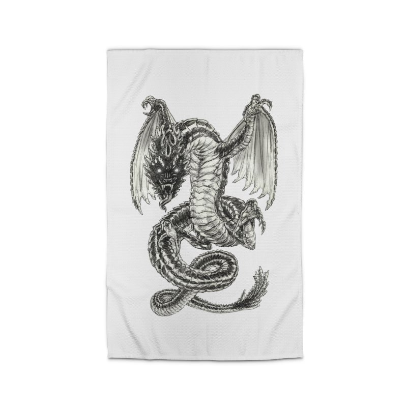 Black Dragon Home Rug by Ayota Illustration Shop