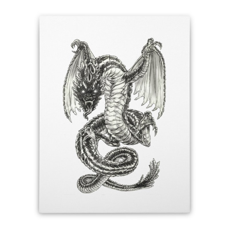 Black Dragon Home Stretched Canvas by Ayota Illustration Shop