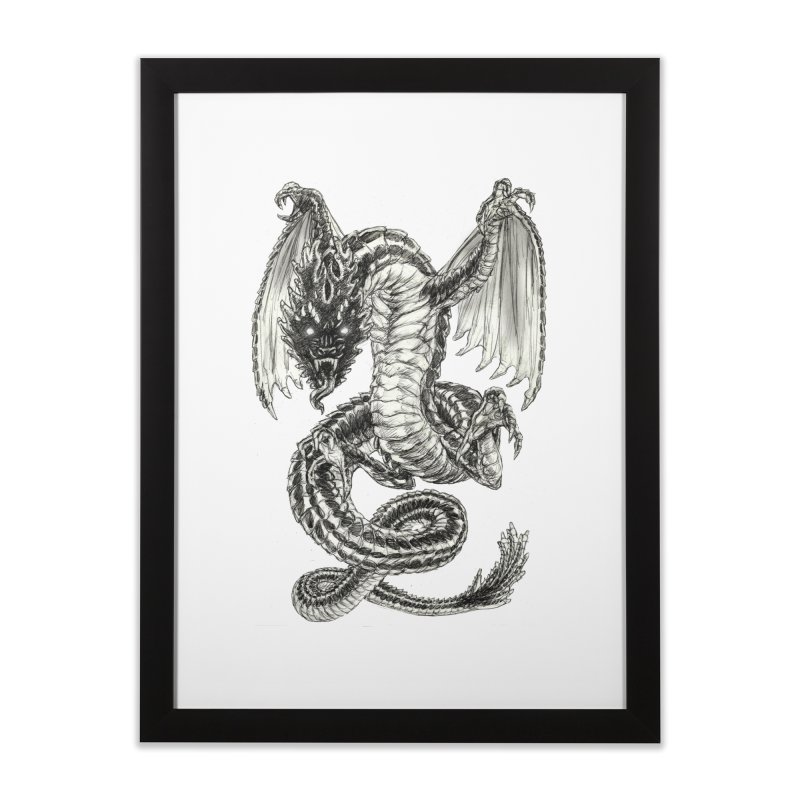 Black Dragon Home Framed Fine Art Print by Ayota Illustration Shop