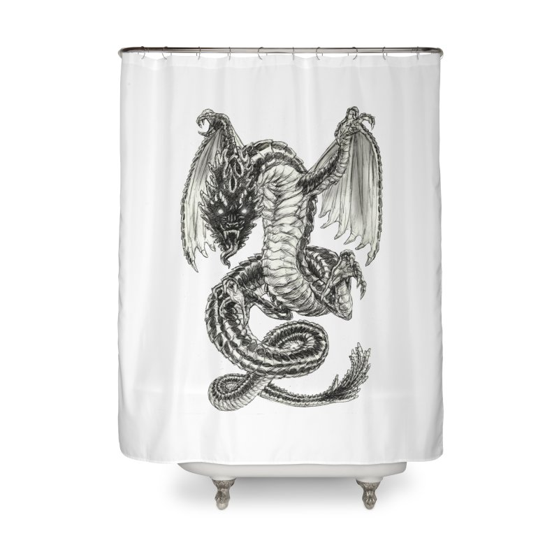 Black Dragon Home Shower Curtain by Ayota Illustration Shop