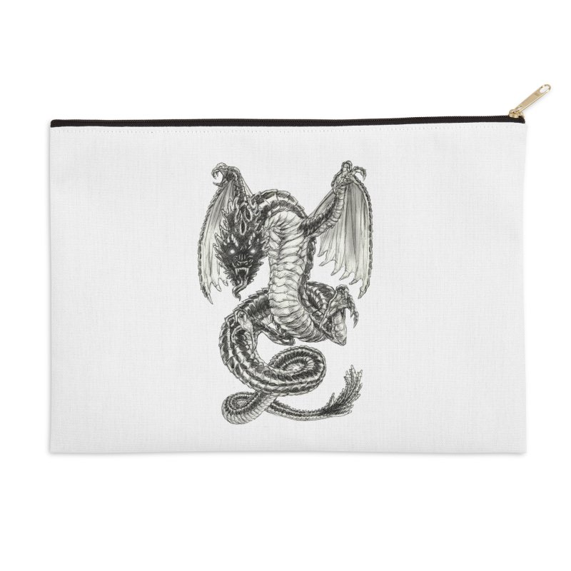 Black Dragon Accessories Zip Pouch by Ayota Illustration Shop