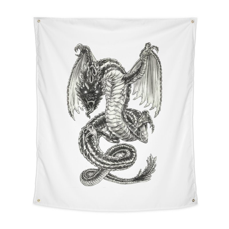 Black Dragon Home Tapestry by Ayota Illustration Shop