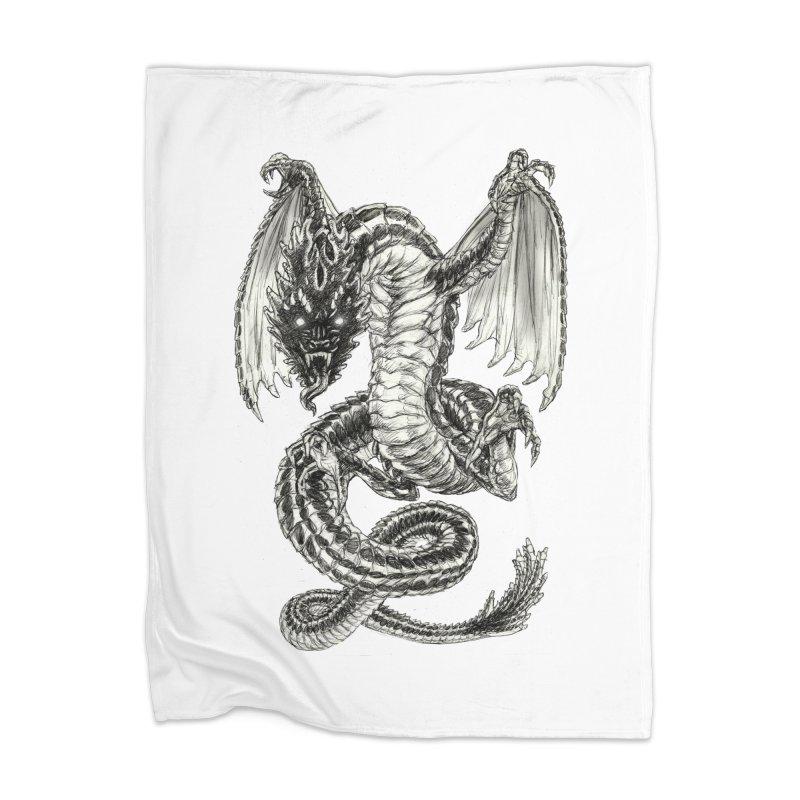 Black Dragon Home Blanket by Ayota Illustration Shop