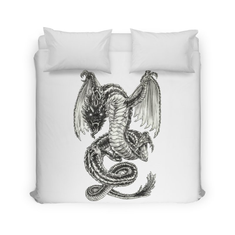 Black Dragon Home Duvet by Ayota Illustration Shop
