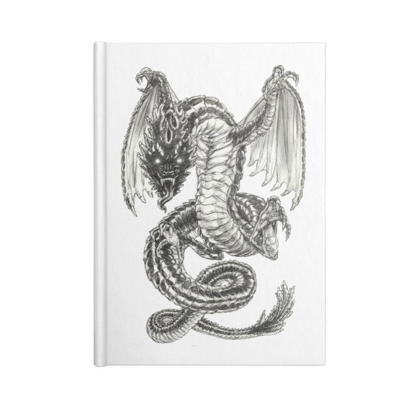 Black Dragon Accessories Lined Journal Notebook by Ayota Illustration Shop