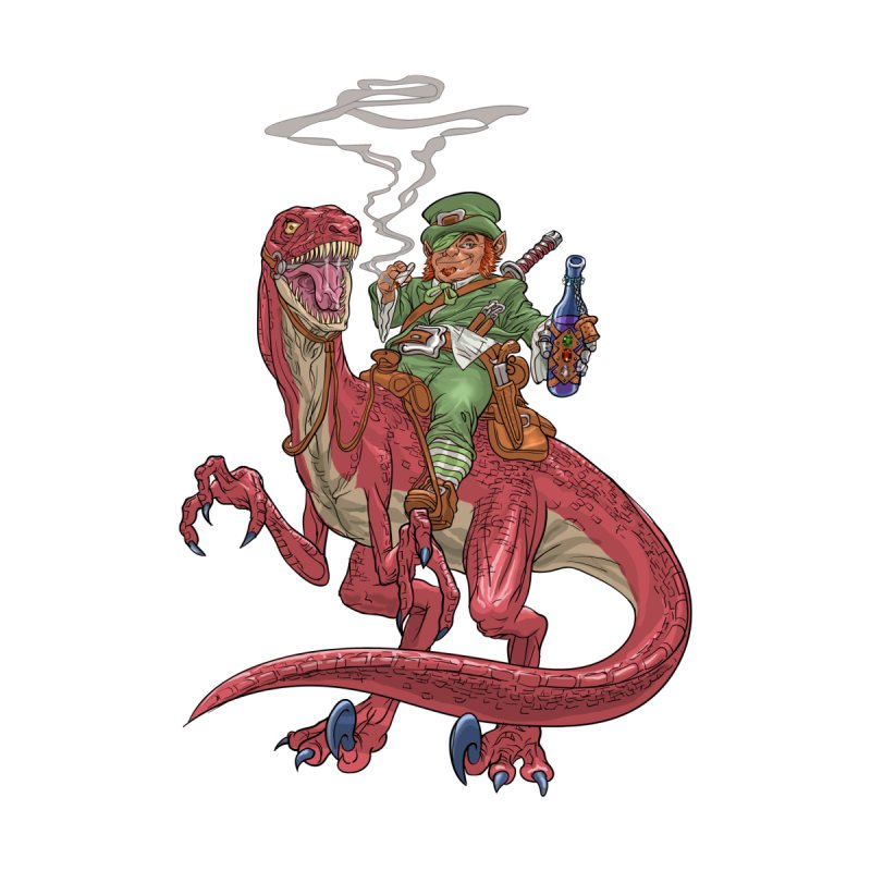 Leprechaun on a Velociraptor  by Ayota Illustration Shop