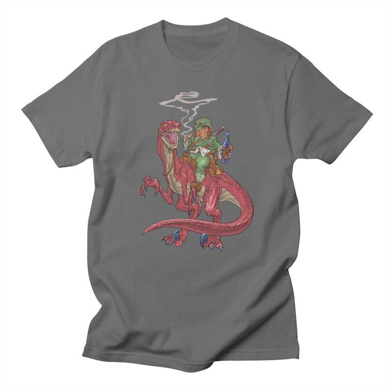 Leprechaun on a Velociraptor  Men's T-Shirt by Ayota Illustration Shop