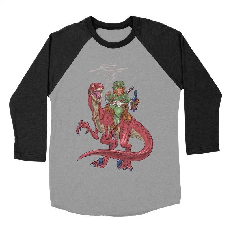Leprechaun on a Velociraptor  Men's Longsleeve T-Shirt by Ayota Illustration Shop