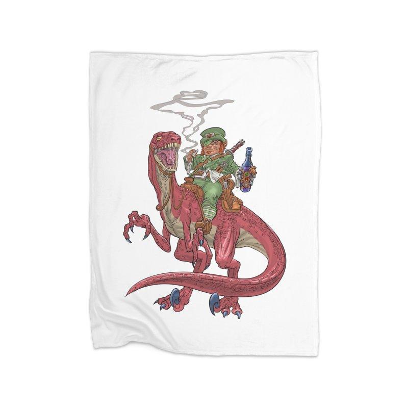 Leprechaun on a Velociraptor  Home Blanket by Ayota Illustration Shop
