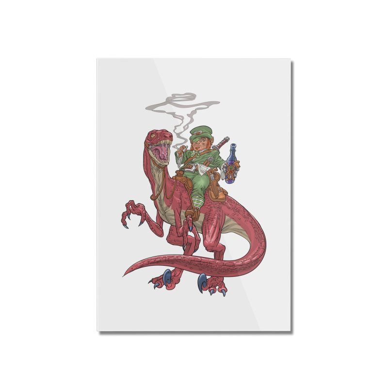 Leprechaun on a Velociraptor  Home Mounted Acrylic Print by Ayota Illustration Shop