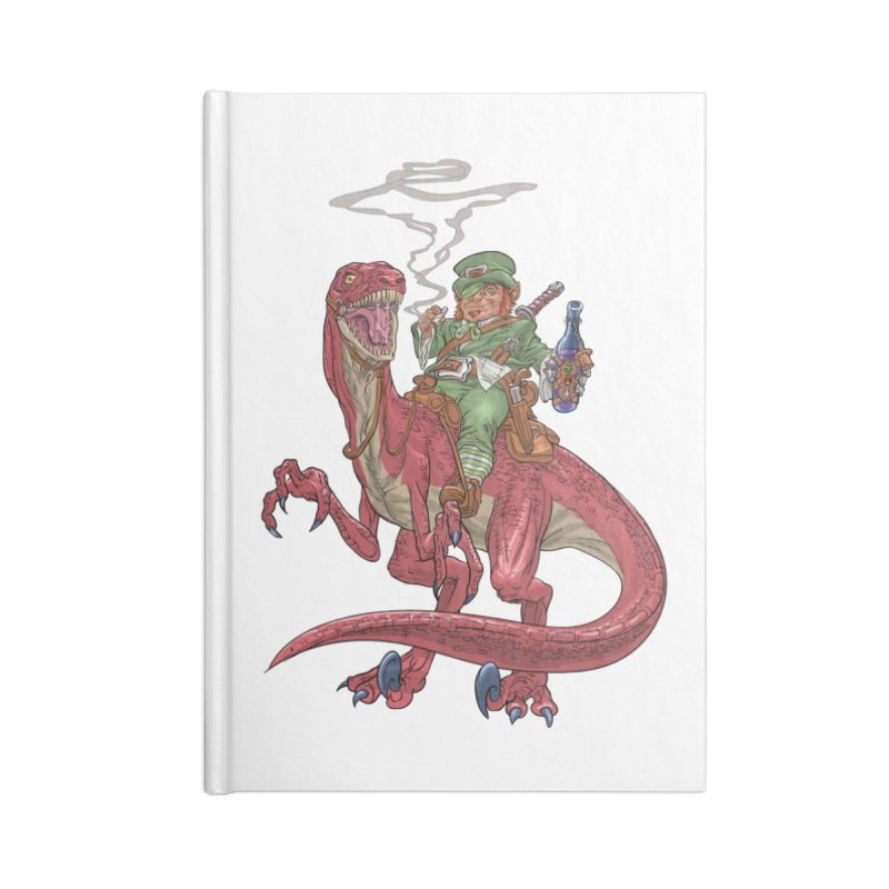 Leprechaun on a Velociraptor  Accessories Notebook by Ayota Illustration Shop