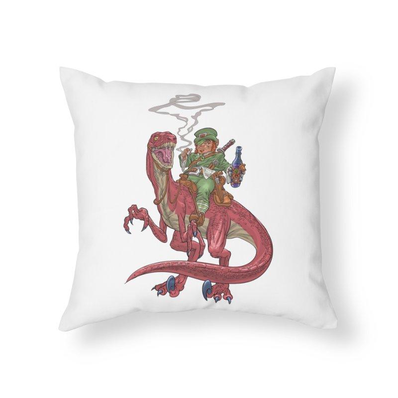 Leprechaun on a Velociraptor  Home Throw Pillow by Ayota Illustration Shop