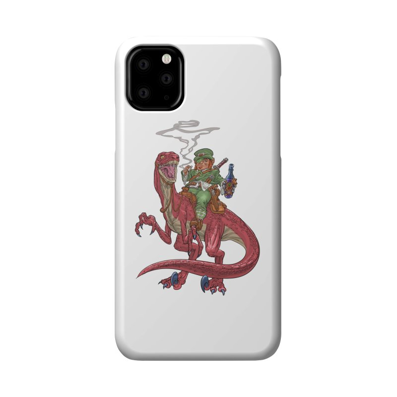 Leprechaun on a Velociraptor  Accessories Phone Case by Ayota Illustration Shop