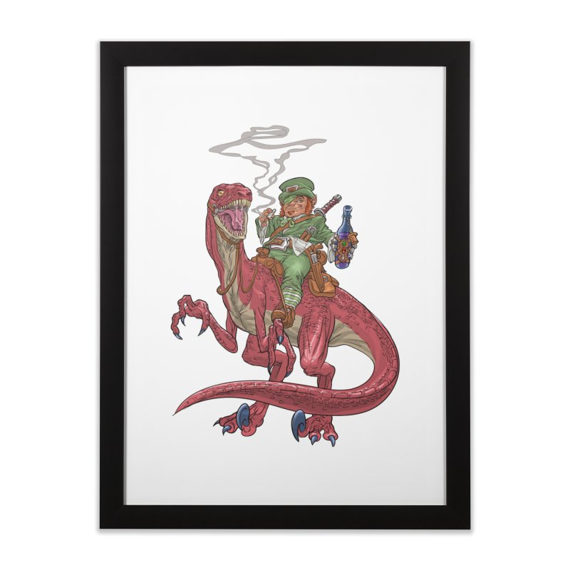 Leprechaun on a Velociraptor  Home Framed Fine Art Print by Ayota Illustration Shop