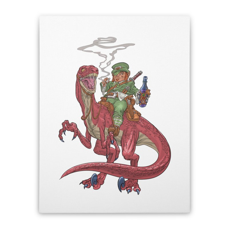 Leprechaun on a Velociraptor  Home Stretched Canvas by Ayota Illustration Shop