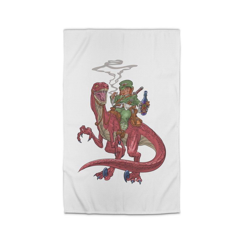 Leprechaun on a Velociraptor  Home Rug by Ayota Illustration Shop