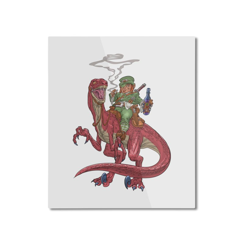 Leprechaun on a Velociraptor  Home Mounted Aluminum Print by Ayota Illustration Shop