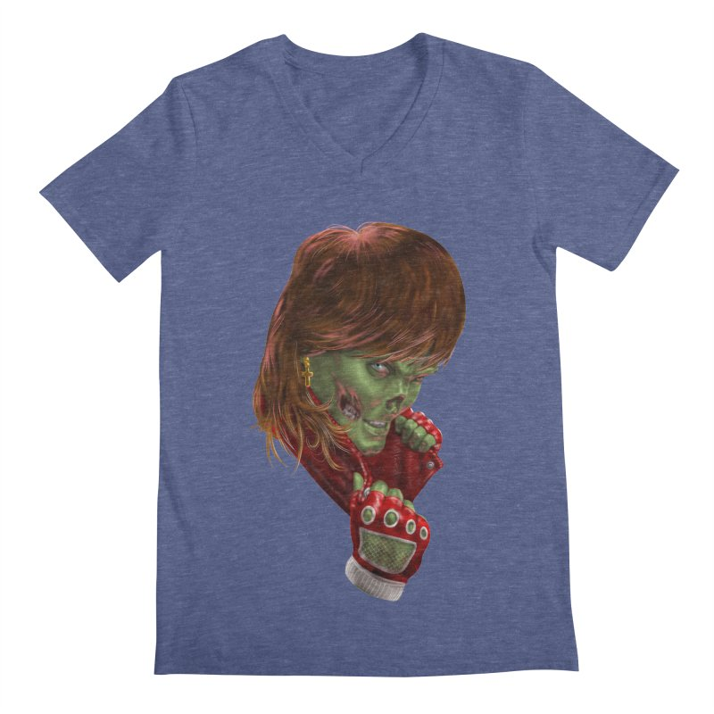 Didn't Die in '85 (eighties zombie) Men's V-Neck by Ayota Illustration Shop