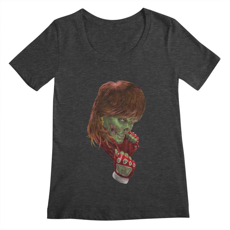 Didn't Die in '85 (eighties zombie) Women's Scoopneck by Ayota Illustration Shop