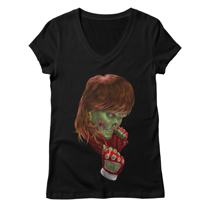 Didn't Die in '85 (eighties zombie) Women's Regular V-Neck by Ayota Illustration Shop